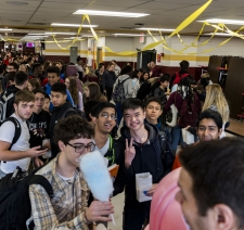 Students line up for cotton candy during Schaumburg High School's cafeteria grand-opening.