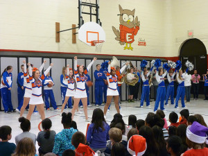 Students from Hoffman Estates High School's cheerleading, pom poms, band, and girls' and boys' basketball teams participated in the assemblies.
