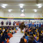 Students in District 54 were happy to see the HEHS hawk mascot.