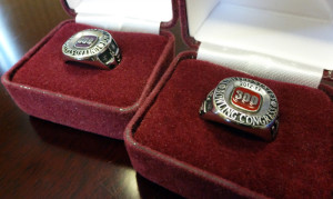 The rings JR received from the United States Bowling Congress (USBC) for his 300 game and 800 series games.