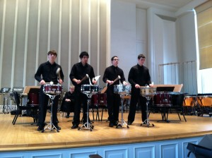 Students from SHS perform during a percussion show at DePaul University.