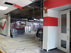 The former main entrance to Palatine High School is in the process of being transformed.