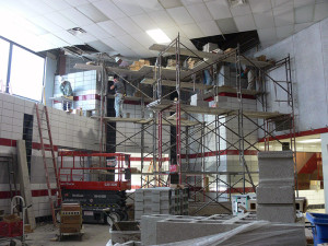 Work being done near Palatine High School's new lunch and kitchen area.