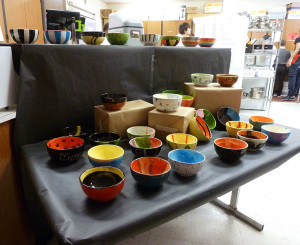 Student-made soup bowls.