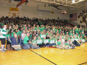 St. Baldrick's student and staff participants after they shaved their heads or cut their hair.