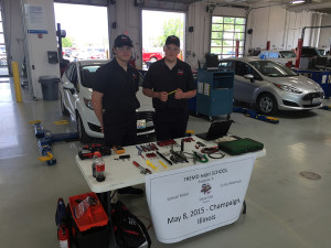 Curtis Robinson (right), junior, and Samuel Robar, senior, took part in the Ford/AAA Autoskills competition at Parkland College in Champaign, Ill., on May 8.  The team placed first in the competition by repairing all of the faults installed in their 2015 Ford Fiesta.