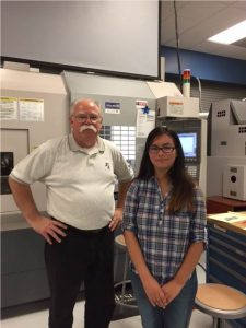 Lizbeth Alvarez Mendoza (right) from Palatine HS at Mitsubishi