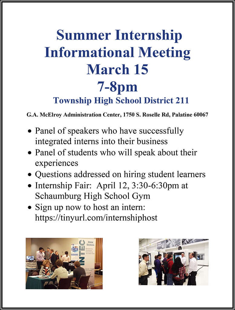 District 211 to Host Summer Internship Informational Meeting for